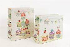 Vintage Shabby Chic Cupcake Bunting Design Party Present Gift Bag Wrap With Tag