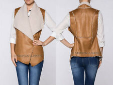 CAMEL (17) Faux LEATHER VEST DRAPED Sleeveless Fur Shearling Pockets BOHO S M L