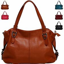 Women Belt Handle Belt Side Handbag Real Leather Tote Shoulder Crossbody Bag
