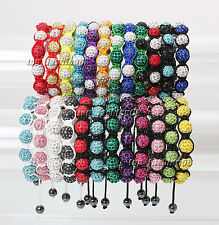 Shamballa Bracelet 10mm Crystal Hematite Disco Ball Beads Adjustable Macrame New