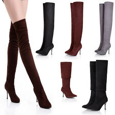 Womens Stiletto Heel Over The Knee Thigh High Boots Leg Knee Boots Winter shoes