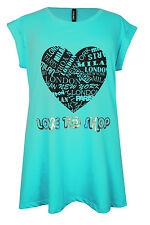 New Ladies Turquoise Heart Print Jersey Tunic Top Plus Sizes 16 - 32