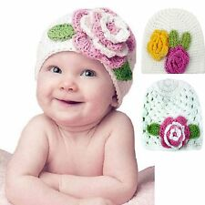 Cute Infant Boys Girls Baby Handmade Knit Crochet Flowers Hat Cap 2 Choices