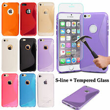 For Various Apple Mobiles S-Line Silicone Gel Case Cover + Tempered Glass Screen