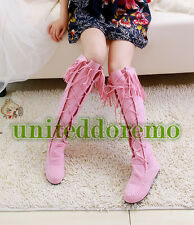 Womens Fringe Boots Lace Knee Boot Slouch Flat Heel Boot Princess Boots US5-10.5