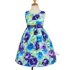 Cotton Rose Floral Girl Summer Holiday Party Dresses Up Kid Size 3T 4T 5 6 SD008
