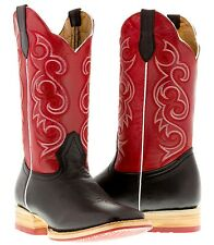 men's black red western leather cowboy boots rodeo riding two tone square toe