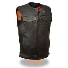 MENS MOTORCYCLE SOA COLLARLESS COWHIDE LEATHER VEST w/ TWO GUN POCKETS - SA88