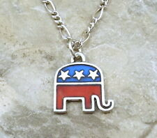 Enameled Pewter Republican Elephant Charm on a Figaro Chain Necklace - 1418