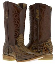 mens cognac brown python snake design leather western cowboy boots rodeo exotic