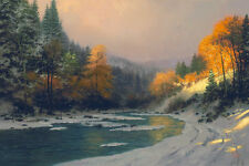 Thomas Kinkade - Autumn Snow - Art Canvas HD Print Home Wall decor picture