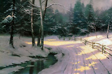 Thomas Kinkade - Winter Glen - Art Canvas HD Print Home Wall decor picture