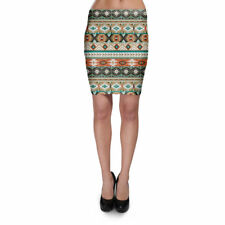 Earthy Aztec Tribal Geometric Bodycon Skirt XS-3XL Stretch Short Skirt