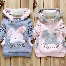 Girls Baby Kids Rabbit Fleece Hoodies Pullover Hoody Jacket Coat Winter Outwear