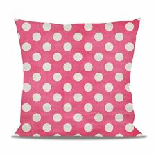 Polka Dots on Hot Pink Fleece Cushion - Heart Round Square Shaped Pillow in 2 Si