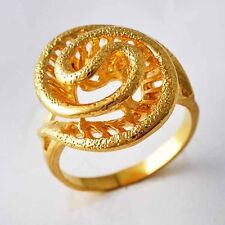 Fashion Snake type Flower Womens Ring jewelry Yellow Gold Filled Size 6 9