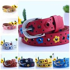 Kids Girls Boys Alloy Buckle Hollow Out Floral Faux Leather Waistband Waist Belt