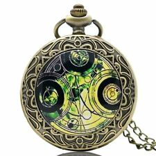 Doctor Who Time Lord Seal Bronze Necklace Pocket Watch Long Chain Male Female