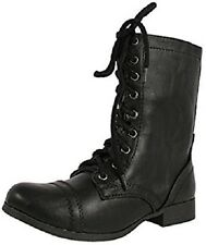 NEW Girl's Youth SODA Relax Black Combat Laceup Tall  Fashion Casual Dress Boots