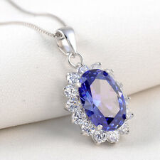 New 6CT Oval Blue Tanzanite Sapphire 925 Sterling Silver Pendant Chain Necklace