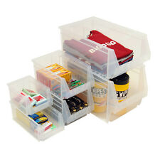 Clear Plastic Parts Bins Storage Boxes Bin Pack Sizes Garage Shed Shelving Boxes
