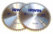 """2 10"""" IRWIN Circular Table Miter Saw Blades Carbide Tipped 60T"""