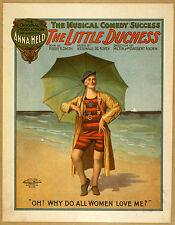 Photo Printed Old Poster: Stage Theatre Flyer Musical Comedy The Little Duchess