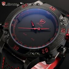 Original SHARK Military LED Digital Leather Analog Quartz Wrist Mens Sport Watch