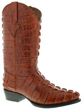 Mens Cognac Brown Full Alligator Tail Exotic Collection Western Cowboy Boots New