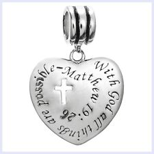 "Sterling Silver Heart w/ Cross and ""With God All Things Are Possible"" Bead Charm"