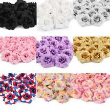 50 Silk Rose Artificial Flower Heads Bridal Clips Wedding Supply Decor 7 Colors