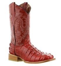 mens red crocodile alligator tail leather western cowboy boots riding square