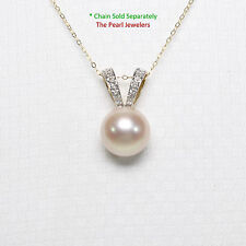 14k Yellow Gold Rabbit-Ear Bail; Diamonds & AAA Pink Cultured Pearl Pendant TPJ