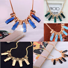 Women Fashion Crystal Square Pendants Chain Choker Statement Collar Necklace