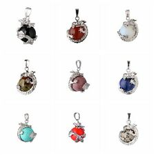 Punk Stylish Chic Wrap Inlaid Ball Bead Gemstone Natural Stone For Necklace J89