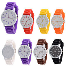 Unisex Silicone Rubber Quartz Analog Sports Watch Adjustable Buckle Wrist Gift