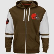 NEW Mens MAJESTIC Cleveland Browns NFL 1946 Browns Free Pace Full Zip Up Hoodie