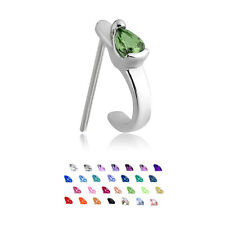 316L Surgical Steel Straight Nose Stud Ring Tear Drop CZ Nose Hugger 20G