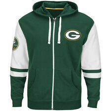 NEW Mens MAJESTIC Green Bay Packers Go Pack Go NFL 1921 Green Zip Up Hoodie