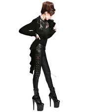 Devil Fashion Womens Black Velvet Tailcoat Jacket Gothic Steampunk VTG Victorian