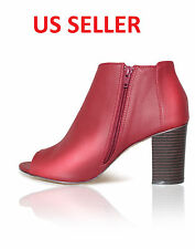 NEW Red Winter Open Toe Ankle Chunky Bootie Boots Zipper High Quality -US SELLER