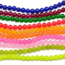 """JEWELRY MAKING 6MM ROUND JADE LOOSE GEMSTONE BEADS STRAND 15"""" FINDINGS 10 Colors"""