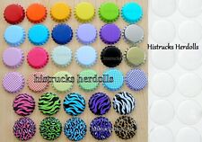"1"" Double Sided Bottle Caps + Clear Epoxy Stickers ~You Choose Color MIx"