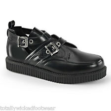 "Demonia Creeper 615 Black Leather 1"" Oxford Comfort Shoe Men Sizes 4-13"