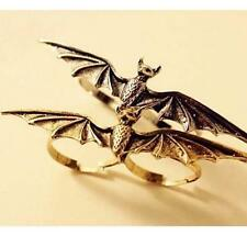 Vintage Cool Womens Mens Alloy Vampire Bat Wing Two / Double Finger Ring Gift