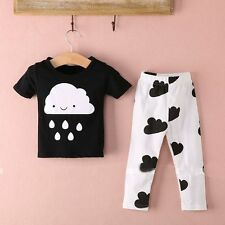 2pcs Baby Boy Kid Short Sleeve Rain T-shirt Top +Pants Outfit Clothing Sets Suit