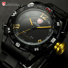 Bullhead Men Shark Digital Date Day Military LED Analog Sport Quartz Wrist Watch