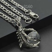 Top Stainless Steel Dragon Claw Clear Agate Ball Pendant Link Chain Necklace 290