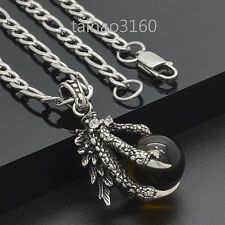 Stainless Steel Dragon Claw Brown Agate Ball Pendant Link Chain Necklace 289T