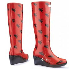Ladies Wedge Welly Freedom Unique Fit Wellies Wellington Boots Shoe Sizes 3-8